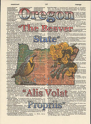 Oregon State Map Symbols Altered Art Print Upcycled Vintage Dictionary Page