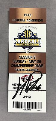 Jared Poche SIGNED 2017 SEC Baseball Championship Game Ticket Stub LSU Tigers