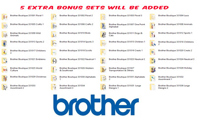 BROTHER BOUTIQUE EMBROIDERY DESIGNS CARDS 1- 36 IN PES/JEF/HUS/VP3/DST CD or USB