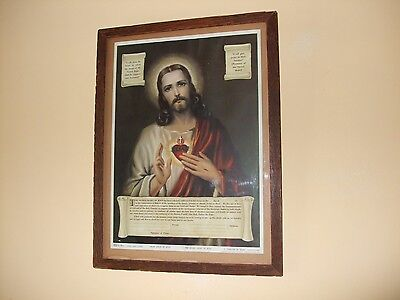 "Vintage Print ""The Sacred Heart of Jesus"",Framed,1946s"