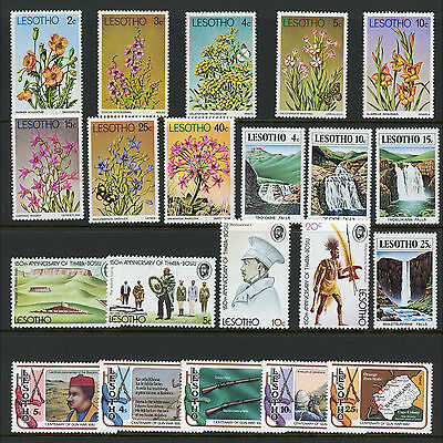LESOTHO Basutoland 1974-80. 4 Sets. Flowers, Military. Mint Never Hinged (AR204)