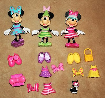 3 Disney Minnie Mouse Bow-Tique Dress Up Dolls Snap On Clothes Birthday Boutique