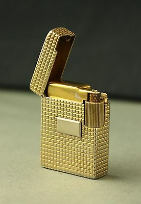 Rare Deco 30's French Solid Silver Gold Wash Petrol Lighter Briquet  打火機