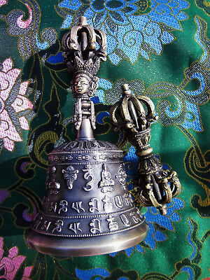 "Exquisite Detail & Sound Tibetan Buddhist Ritual 7.25"" Bell & 9 Prong Dorje Set"