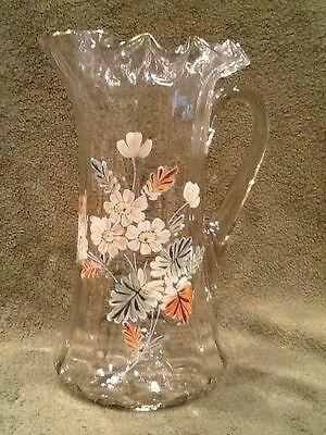 """Enameled Painted Double Crimped Water Pitcher 9-1/2"""" Hand Blown Floral  Victoria"""