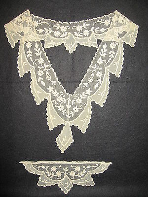 LP25 Antique Victorian Fashion Collar Crochet Embroidery Lace Bridal