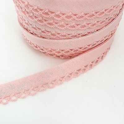 per metre or 25m roll REDUCED Pre-Fold 12mm Lace Edge Cotton Bias Binding