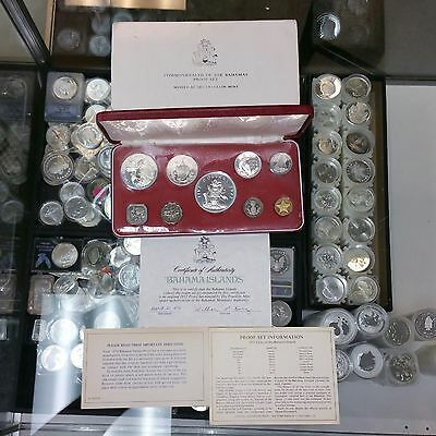 1972 Commonwealth of the Bahamas 9-Coin Proof Set With Box & Cert GEMS!