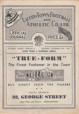 LUTON TOWN v PLYMOUTH 1947/8,DIVISION 2