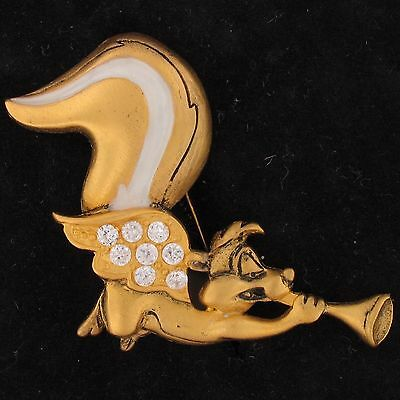 BROOCH PIN Pepe Le Pew WARNER BROS Looney Tunes WB STORE .8 CZ Gold ANGEL 4287