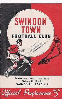 SWINDON v READING 1951/2, DIVISION 3 SOUTH