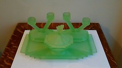 Art Deco Bagley Bedford frosted green pressed glass dressing table set UV glow
