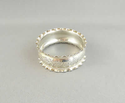 Antique Sterling Floral Engraved Napkin Ring By H.b. In Birmingham 1888