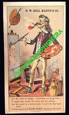 American ARTIST Victorian Era Soap Trading Card BELL Mfg Co PREJUDICED PEOPLE EX