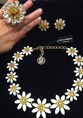 NWT DOLCE&GABBANA Daisy Necklace Cocktail Ring Earrings Set
