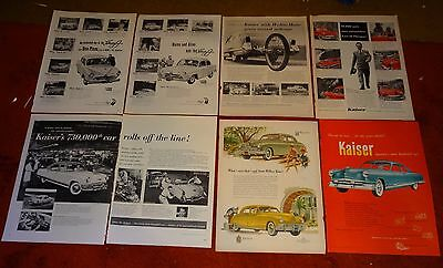 15 HENRY J KAISER car print ad ads vintage lot D91