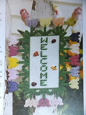 Pretty Tulips Welcome Sign Pattern(s) in Plastic Canvas