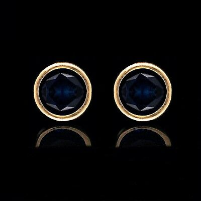 1.00 Ct Brilliant Blue Sapphire Bezel Earrings 14k Solid Yellow Gold Round Studs
