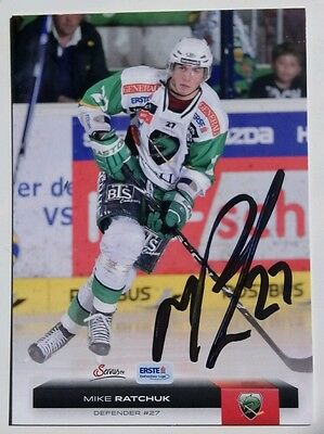 Auto'd MIKE RATCHUK 2012-13 Austrian EBEL, Sheffield Steelers, GUILDFORD FLAMES