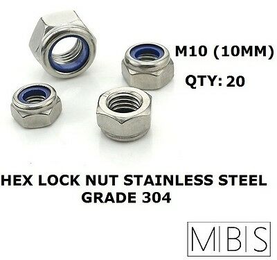 20 x M10 Stainless Steel 304 A2 Hex Nyloc Nut 10mm Nylon Insert Lock Nuts DIY