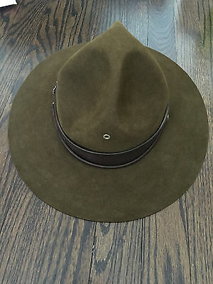 Vintage BSA Boy Scouts Stetson Perfect Oval Scout Master Hat 6-7/8  w holder EXC