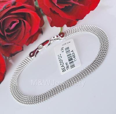 WOMENS CHAIN BALL BRACELET SOLID 925 STERLING SILVER RHODIUM PLATED LENGTH 19cm