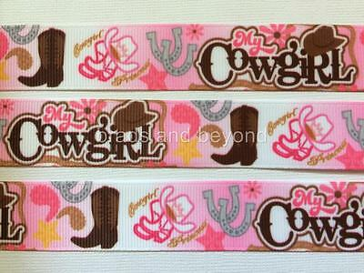 """BB Ribbon MY COWGIRL PINK  2m grosgrain 7/8"""" 22mm horseshoe boots rodeo"""