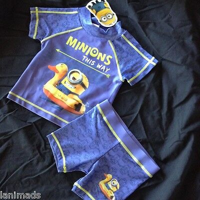 MINIONS Despicable Me Baby Boys Bathers Top Shorts BNWT Size 0 1 2 ** Free Post*