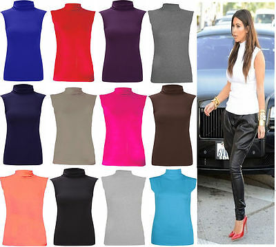New Ladies Sleeveless Plain Turtle Polo Roll Neck Top Women's Summer Jumper 8-22