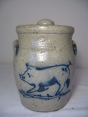 ROWE POTTERY WORKS PIG GLAZED CROCK CANISTER with LID – dated 1987