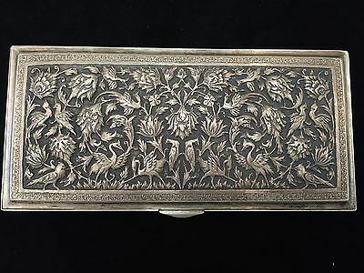 Beautiful Persian Antique Silver Rectangular Box 372G