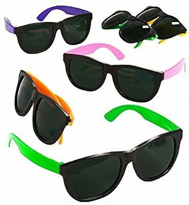 Blue Green Novelty Bulk Lot of 48 Neon 80's Style Party Sunglasses with Dark