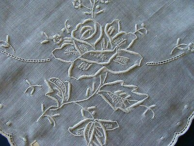 GORGEOUS Vintage Linen WEDDING Hanky ROSES Amazing Hand Embroidery  PRISTINE