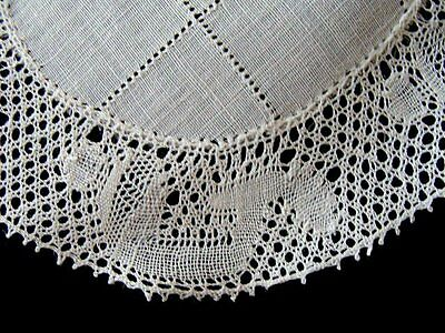 14 Beautiful HAND MADE Flanders Bobbin Lace Linen Doilies Goblet Rounds Coasters