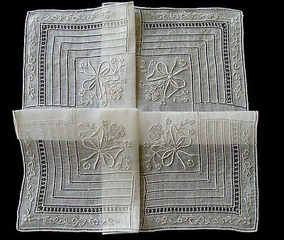 AMAZING Vintage Hand Embroidered Linen WEDDING Hanky Hand Made Lace PRISTINE