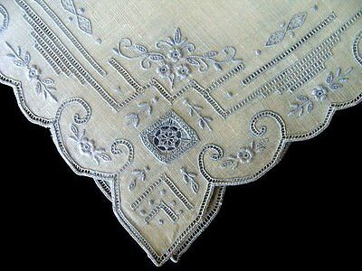 WOW Vintage Linen WEDDING Hanky Hand Made LACE Hand Embroidered PRISTINE