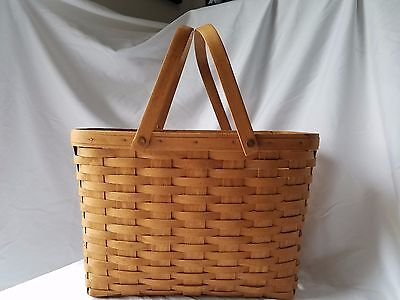 "Longaberger Basket Large Magazine 15"" x 11"" x 9"" w/ 2 swing handles"