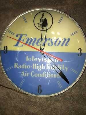Pam Style Emerson Radio Hi Fi Advertising Round Glass Front Clock