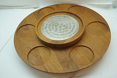 Mid Century Modern Serving Tray Teak Wood Danish Luthje Revolving Server