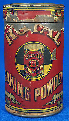Antique Early 1900's Royal Baking Powder Co NY Tin Can Orig. Top & Paper Label