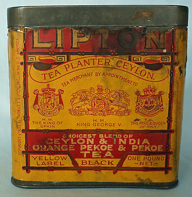 Vintage 1926 Lipton Yellow Label Tea Tin 1 lb. - Paper Label Still Attached!