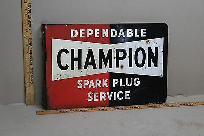 1940's CHAMPION SPARK PLUGS 2-SIDED METAL FLANGE SIGN CAR TRUCK SERVICE GAS OIL