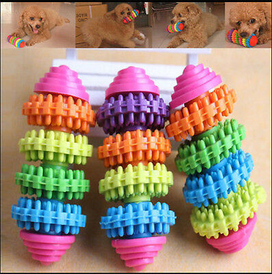 Colorful Rubber Pet Dog Puppy Dental Teething Healthy Teeth Chew Toy Tool c5
