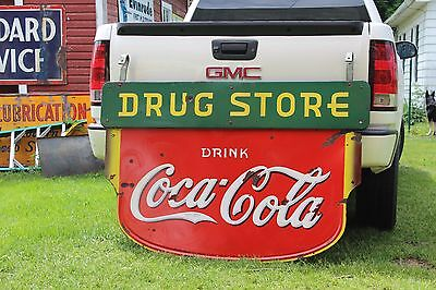 SCARCE 1930's COCA COLA DRUG STORE PORCELAIN 2-SIDED SIGN COKE TEXAS POP SODA