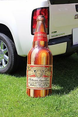 """SCARCE 1930's 48"""" BUDWEISER EMBOSSED METAL BOTTLE SIGN ST. LOUIS BUSCH PABST"""