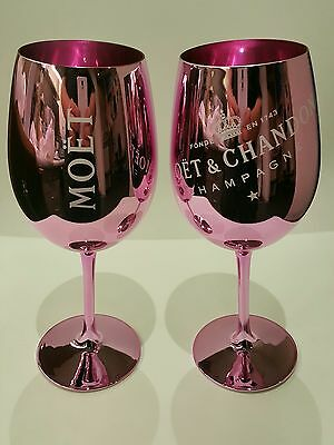 Moet and Chandon PINK Glass Goblets x 2! Rare! New! Mint Condition!