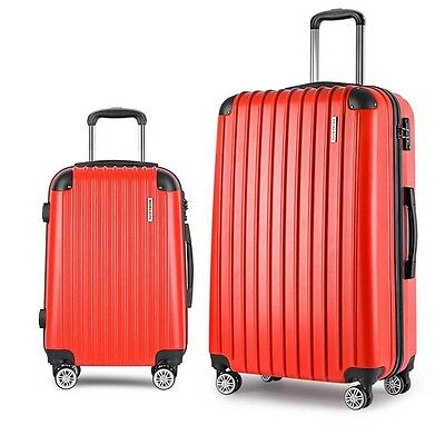 "NEW 2 Pieces Lightweight Hard Shell Travel Luggage 20"" and 28"" w/ TSA Lock - Red"