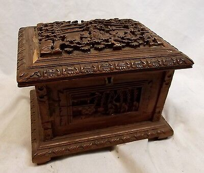 Antique Hand Carved 19thC Canton Box Sandalwood Intricate Carved Panel 3D Relief