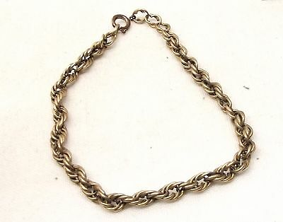 "Antique 8K German Gold Bracelet Rope Twist Woven Art Deco Victorian 8 3/4"" 333"