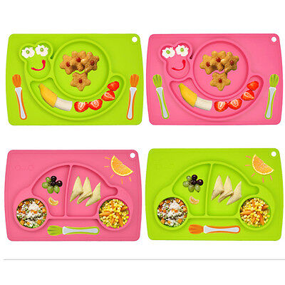 BPA Free Silicone Dishwasher Non-slip Child Dinner Plate Separated Tray 5 Colors